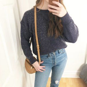Vintage Wool Blend Ribbed Knit Crew Neck Sweater